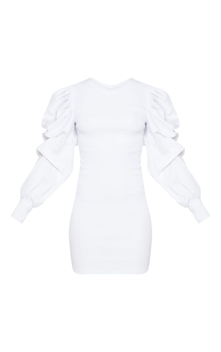 White Ruched Sleeve Detail Ribbed Bodycon Dress 3