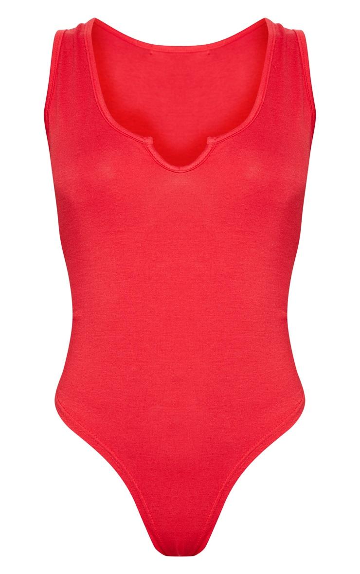 Red V Sleeveless Bodysuit 3