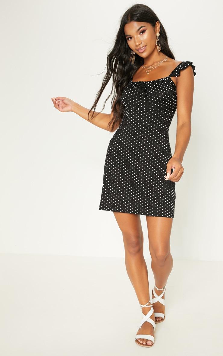 Black Polka Dot Frill Sleeve Skater Dress 4