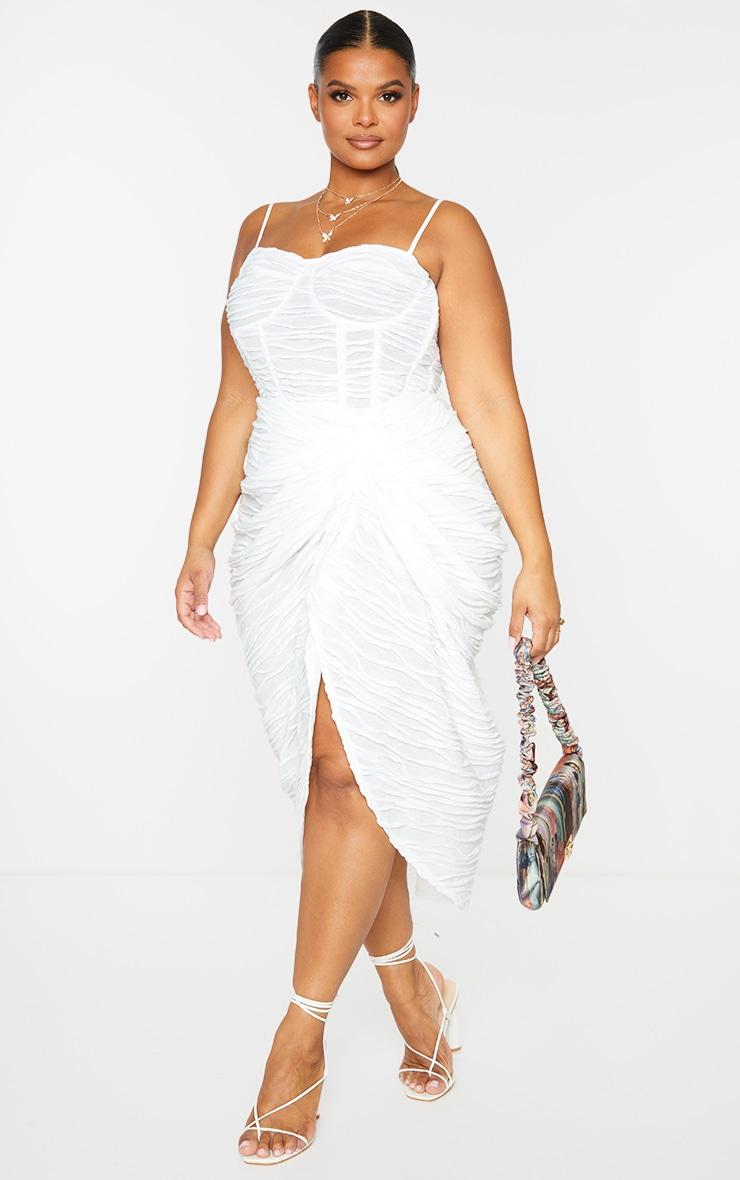 Plus White Textured Ruch Side Midi Skirt  1