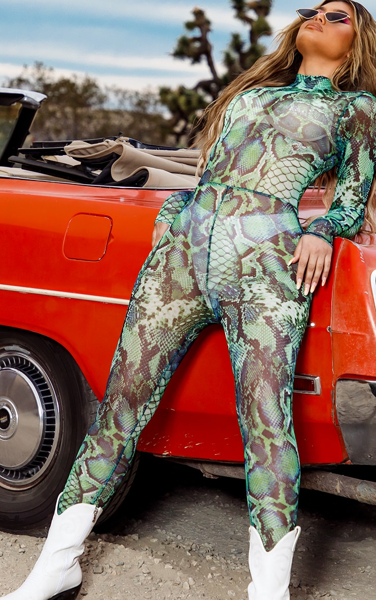 Green Mixed Animal Print Mesh Jumpsuit 3