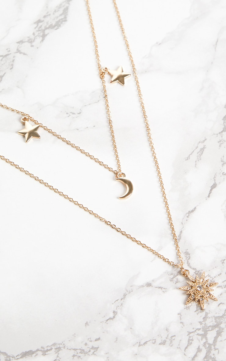 Gold Star Moon Pendant Layered Necklace 3