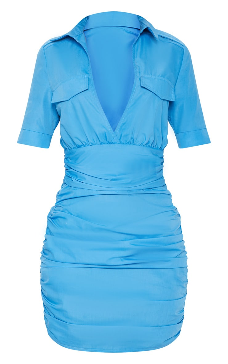 Bright Blue Short Sleeve Ruched Detail Shirt Dress 3