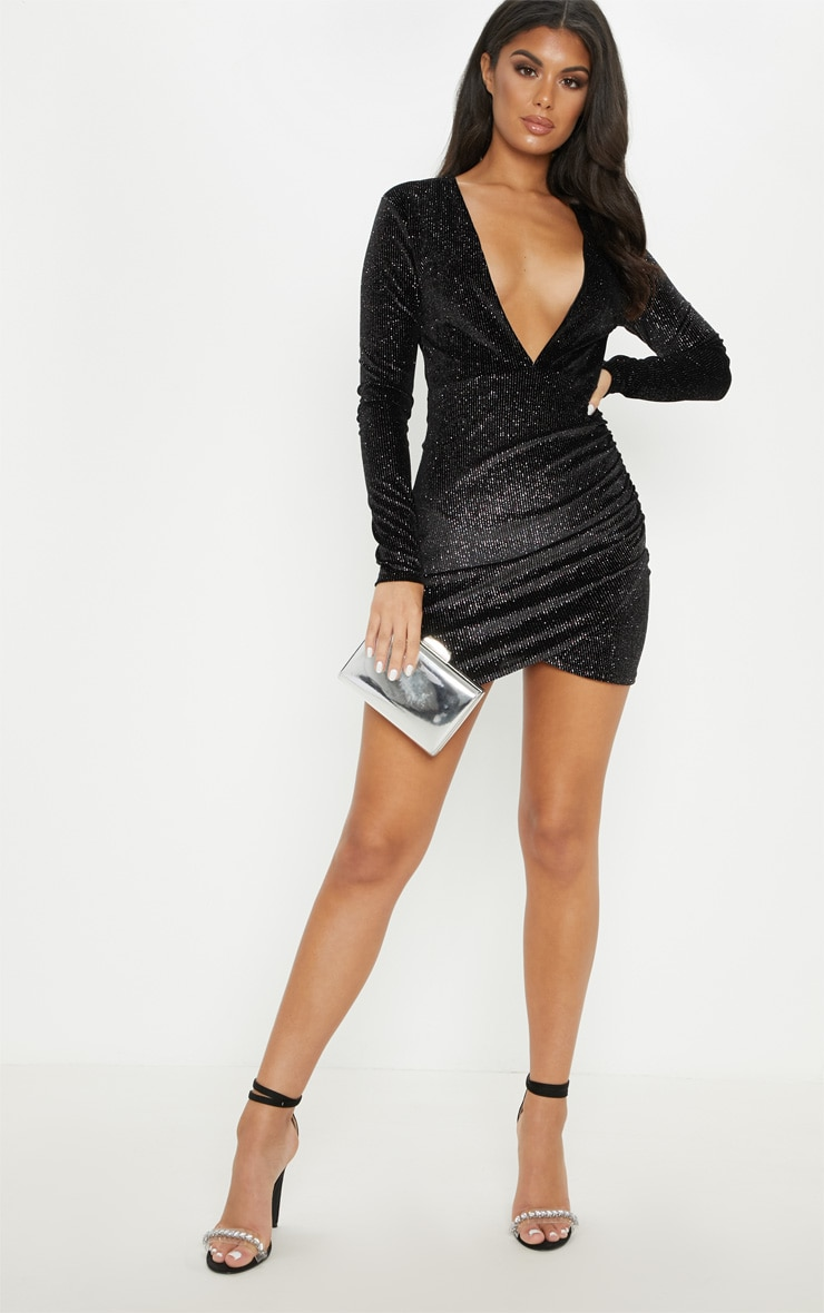 Black Velvet Multi Glitter Plunge Ruched Bodycon Dress 4
