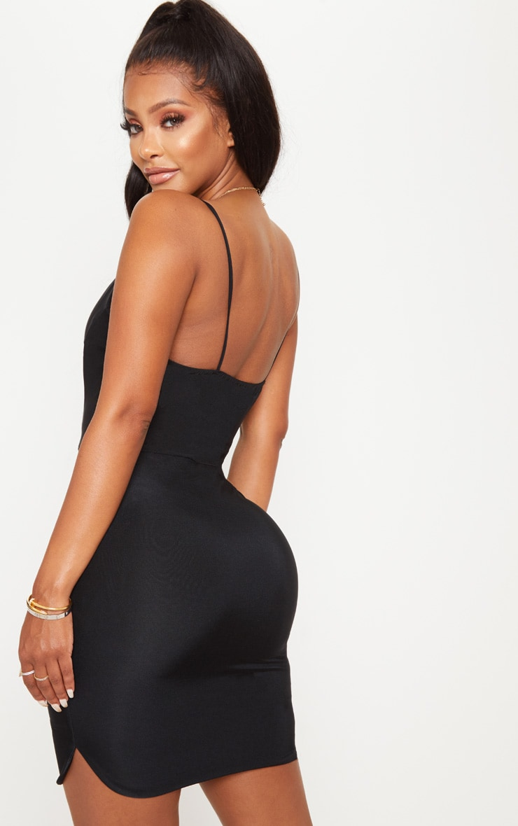 Shape Black Slinky Plunge Strappy Bodycon Dress 2