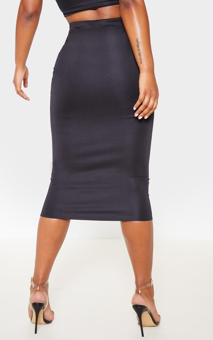 Black High Stretch Midi Skirt 4