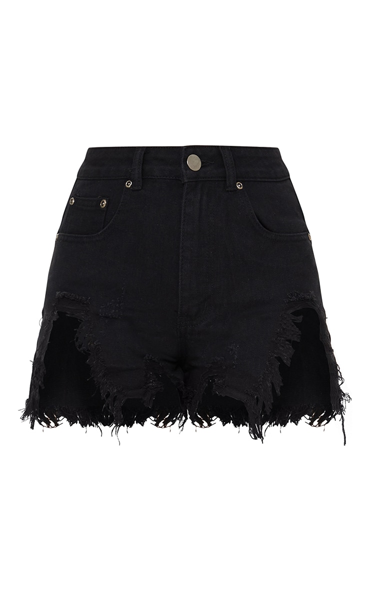 Black Extreme Thigh Rip Denim Short 6