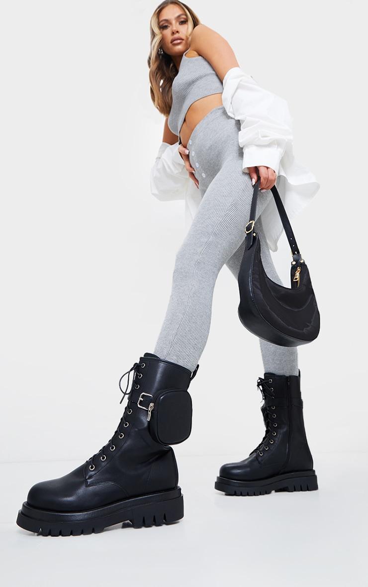 Black Wide Fit PU Pocket Side Lace Up Biker Boots 1