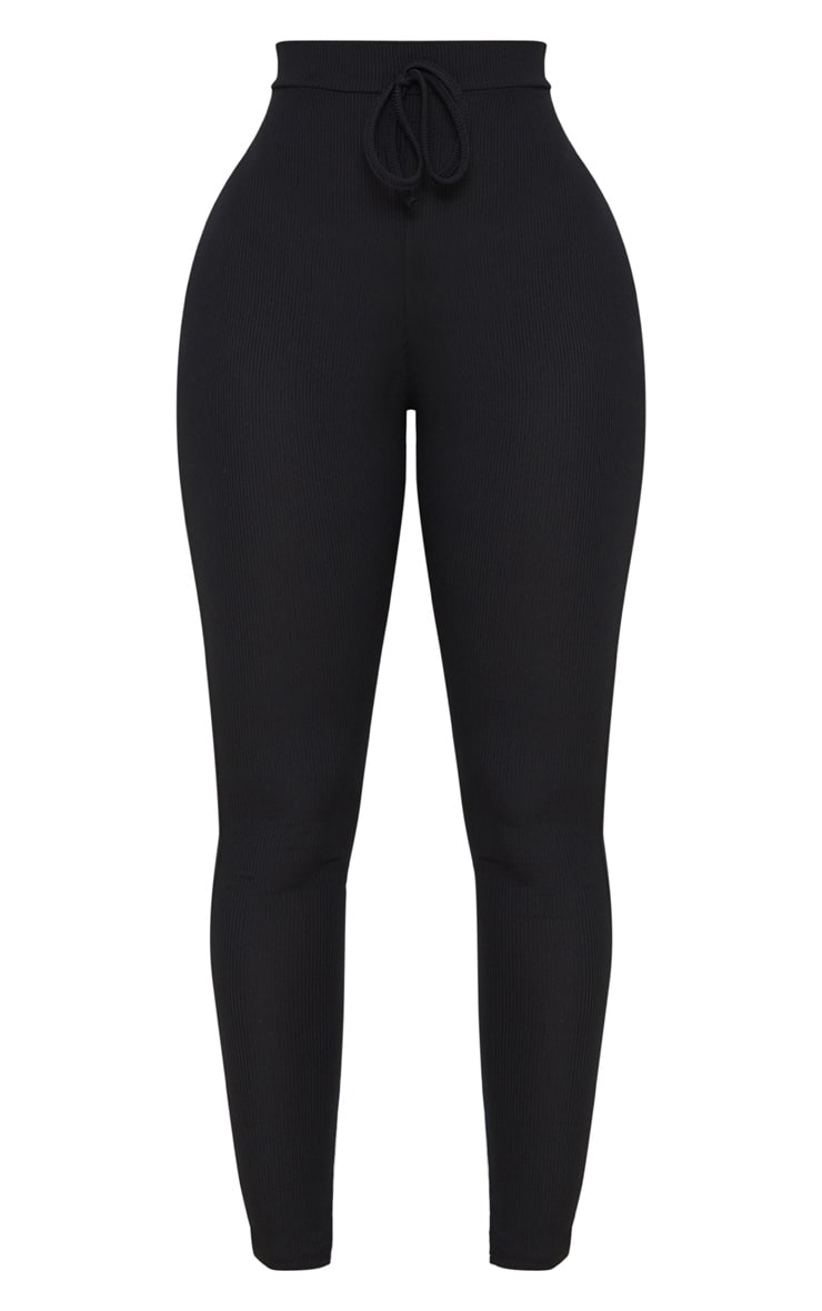 Shape Black Ribbed High Waist Leggings 3