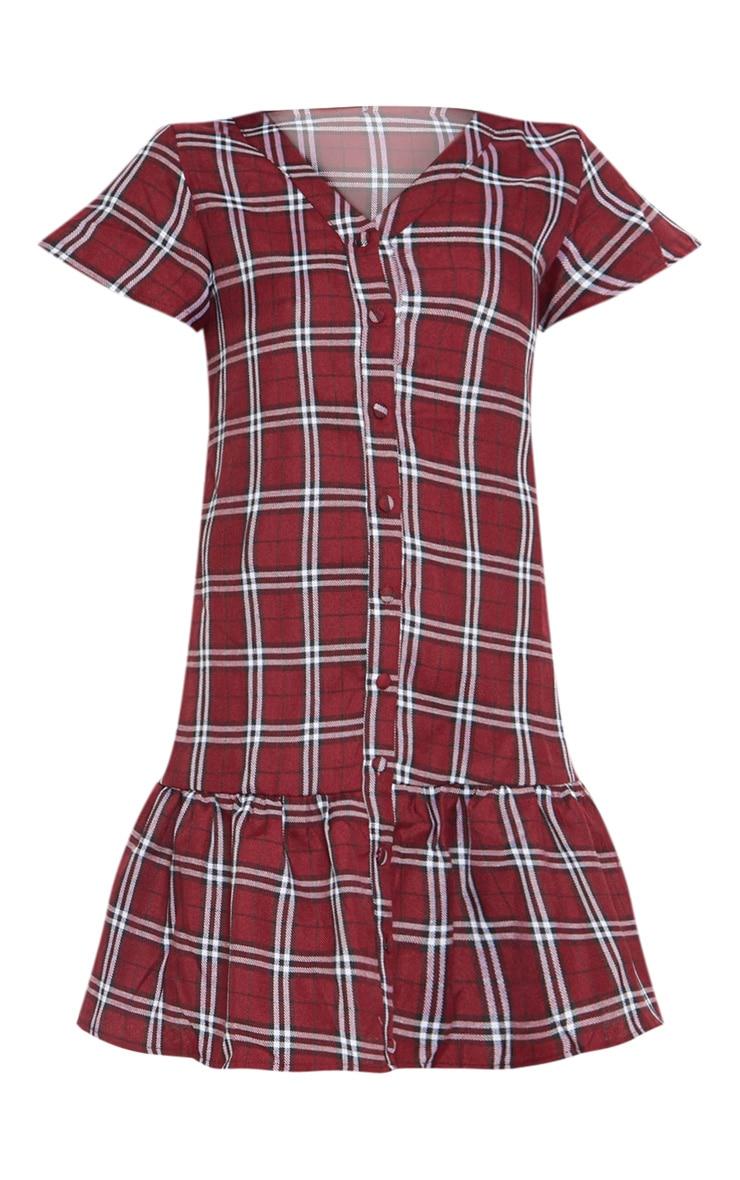 Red Check Button Through Smock Dress 3