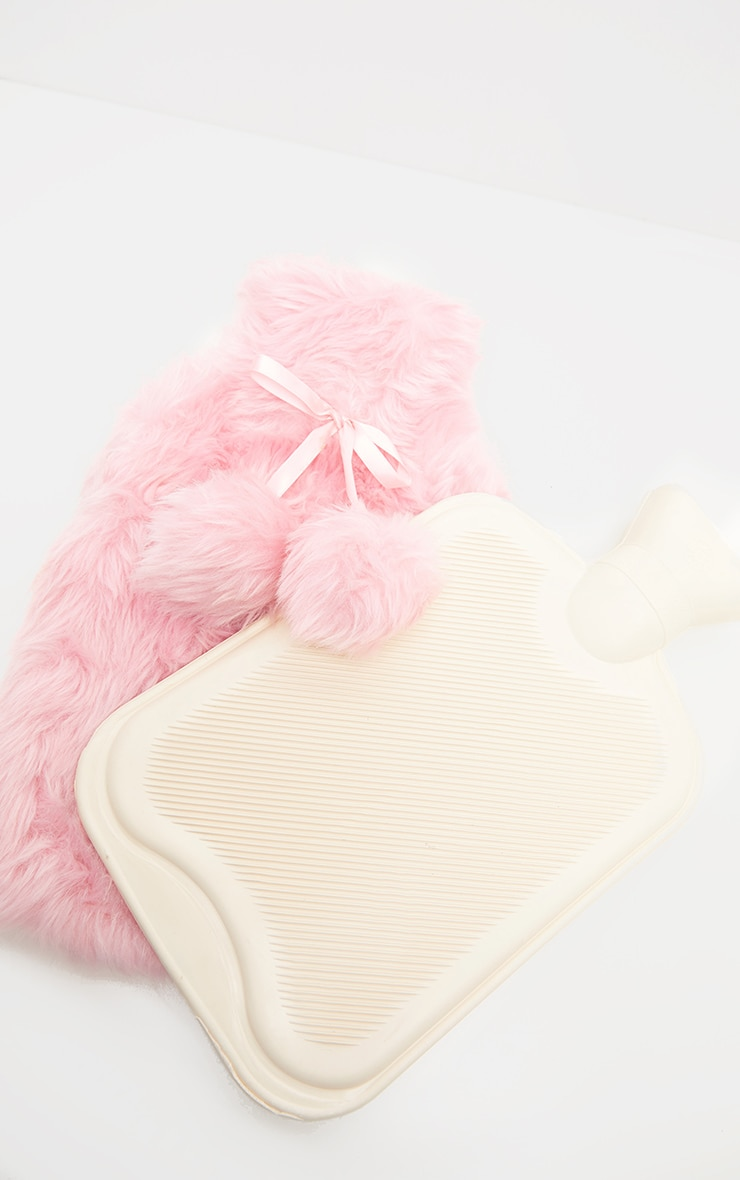 Pink Faux Fur Hot Water Bottle 3