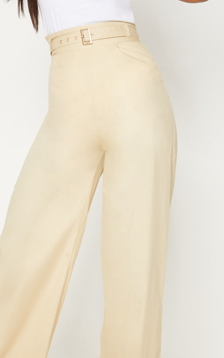 Cream Belted Waist Wide Leg Trouser 5
