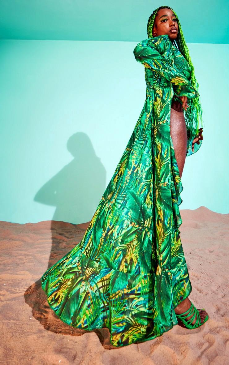 Green Tropical Extreme Frill Kimono 3