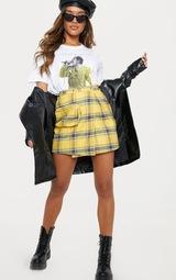Yellow Check 3D Pocket Detail Tennis Skirt 5