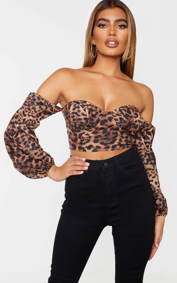 Tan Leopard Printed Sweetheart Bardot Crop Top 1