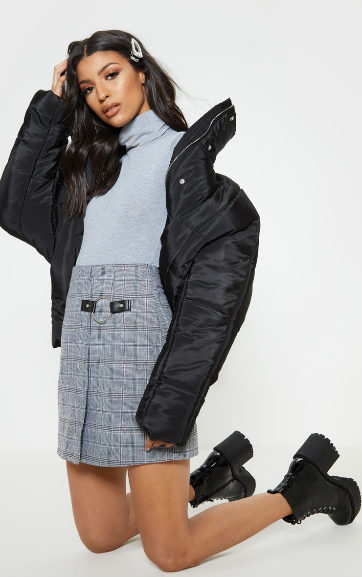 Grey Roll Neck Short Sleeve Bodysuit 5