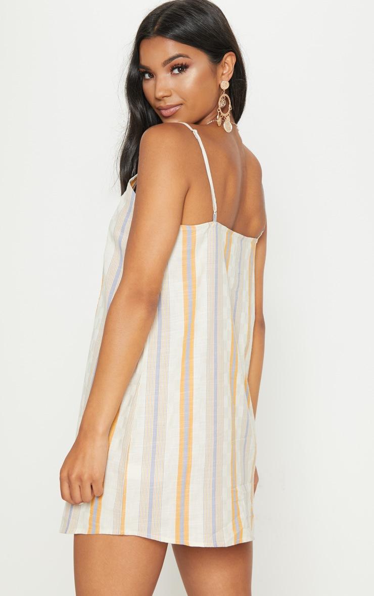 Multi Stripe Print Wooden Button Shift Dress 2