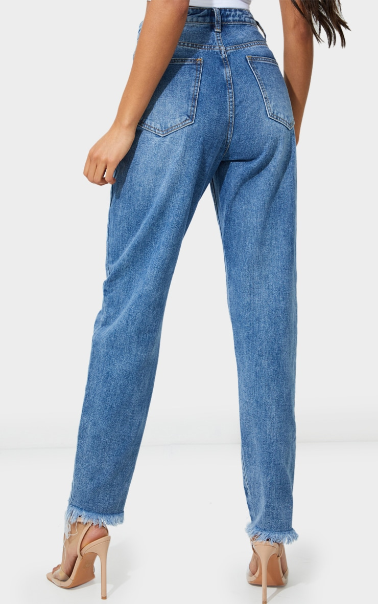 PRETTYLITTLETHING Mid Blue Wash Extreme Distressed Hem Knee Rip Mom Jeans 3