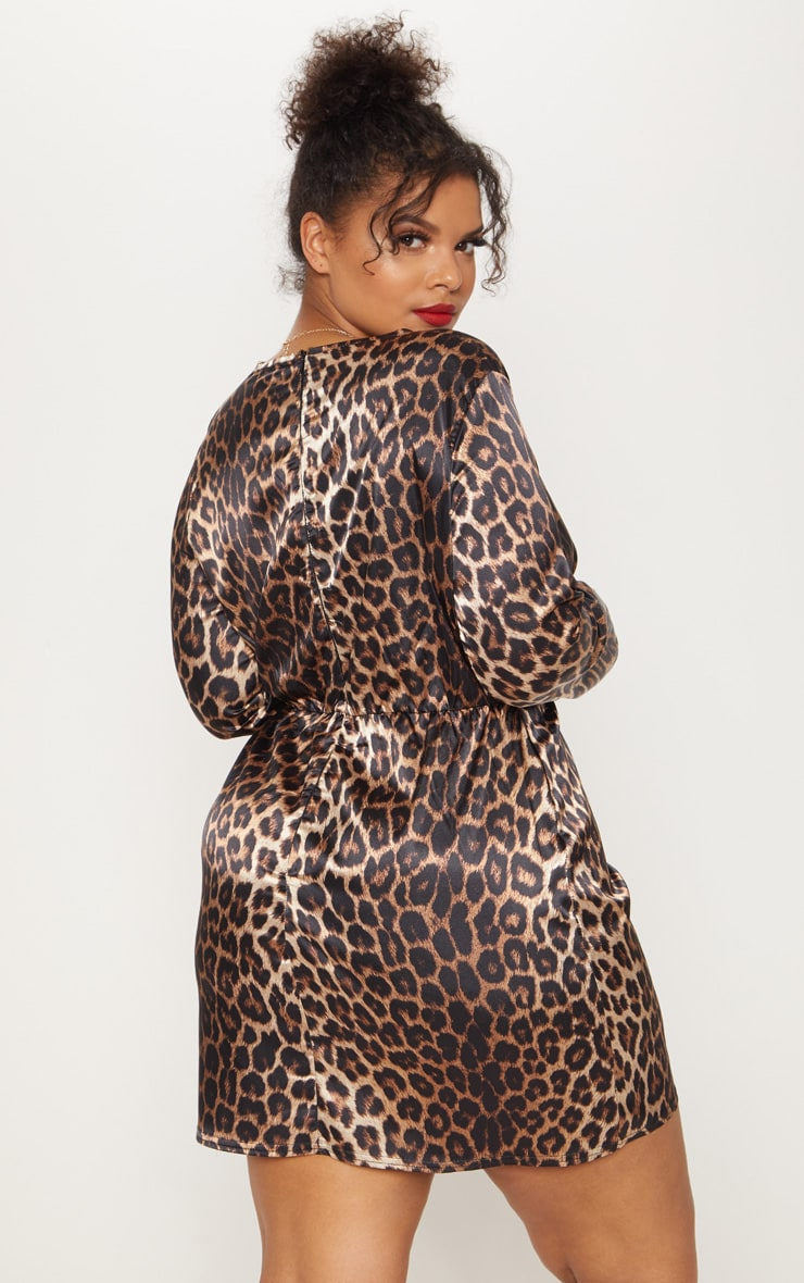 Plus Leopard Print Satin Twist Front Shift Dress 2