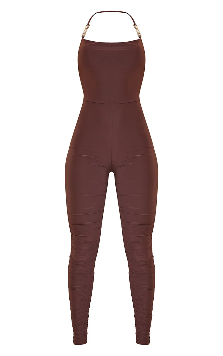 Chocolate Chain Detail Halterneck Slinky Jumpsuit 5
