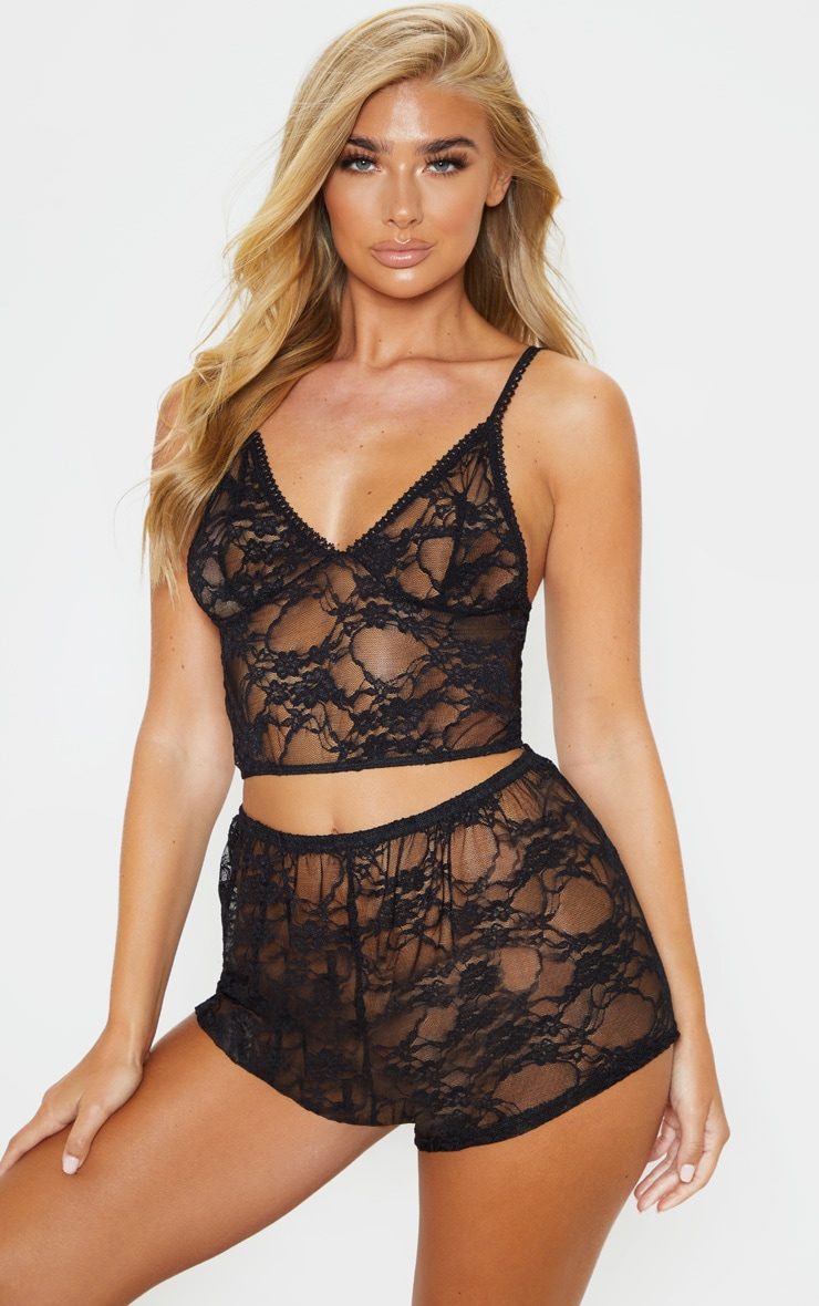 Luma Black All Over Lace Crop Top & Short Set 1