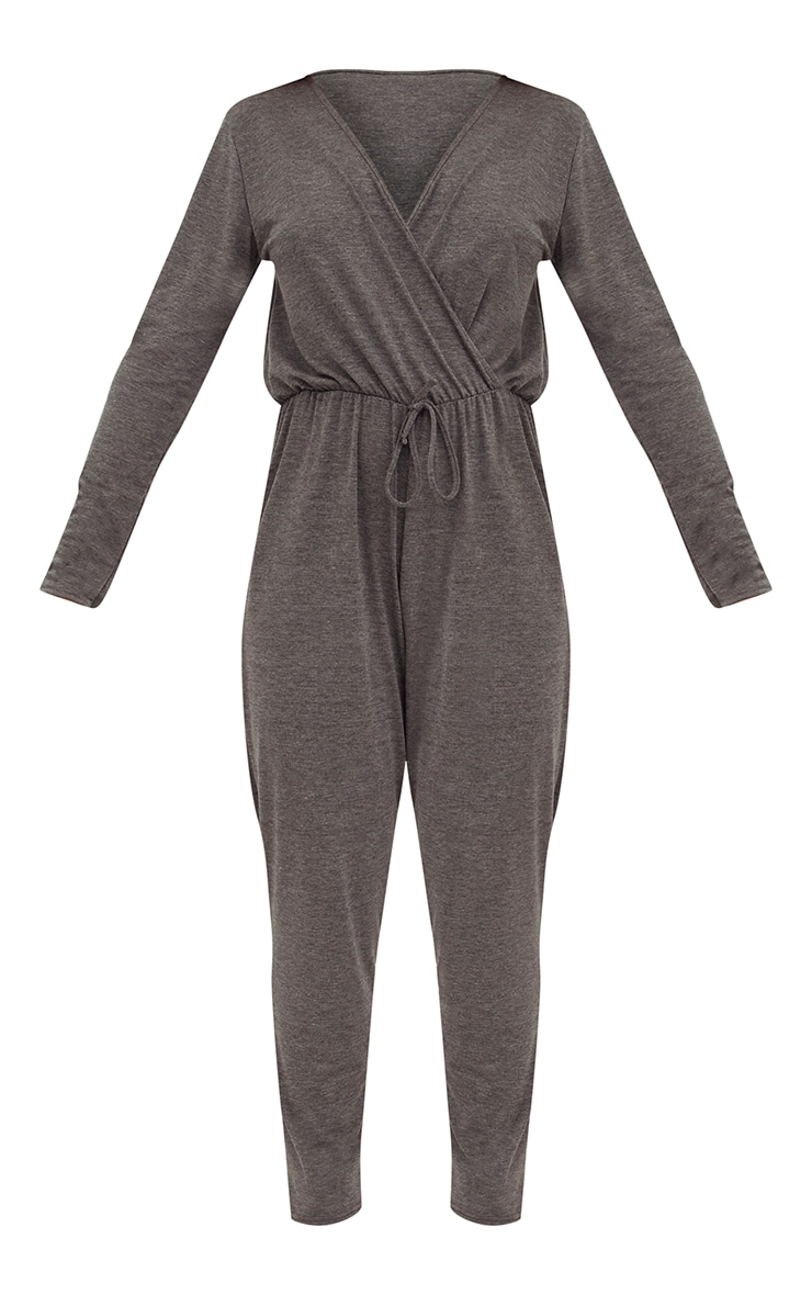 Charcoal Jersey Long Sleeve Wrap Jumpsuit 3