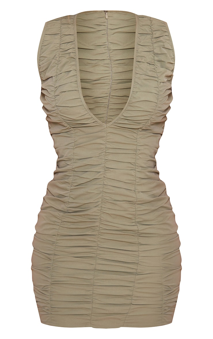 Sage Green Woven Ruched Sleeveless Plunge Bodycon Dress 5