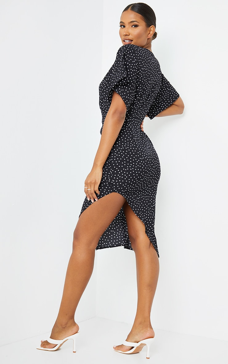 Black Polka Dot Woven Batwing Ruched Side Split Midi Dress 2