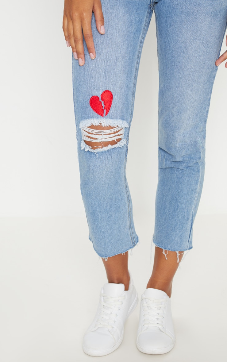 Mid Wash Heart Breaker Embroidered Jeans 5