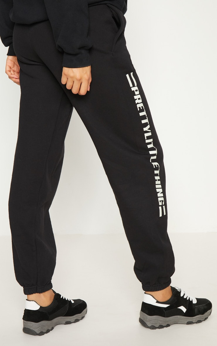 PRETTYLITTLETHING Black Logo Stripe Track Pants 4