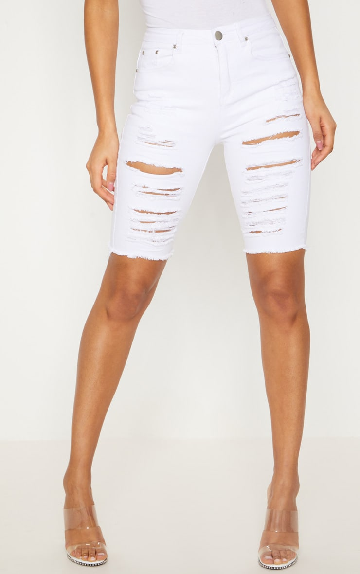 White Distressed Denim Bike Shorts 2