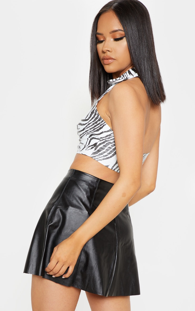 Mono Zebra Zip Front Vinyl Crop Top 2