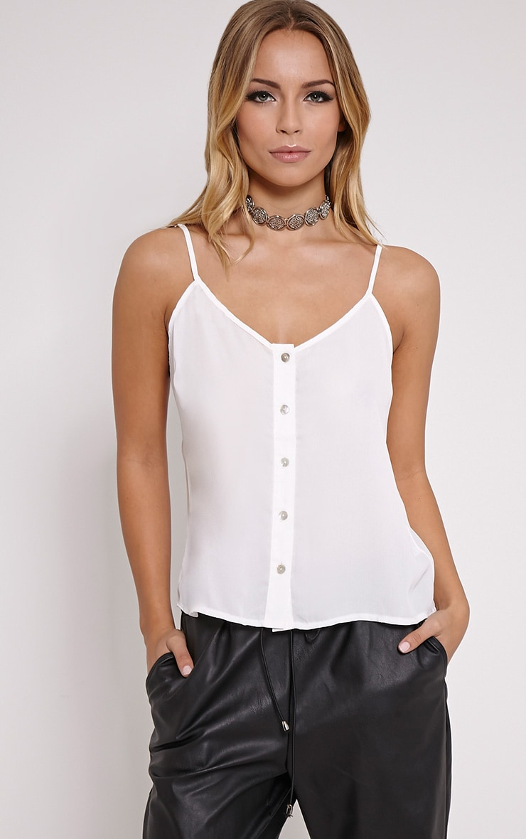 Mara White Button Up Cami 1