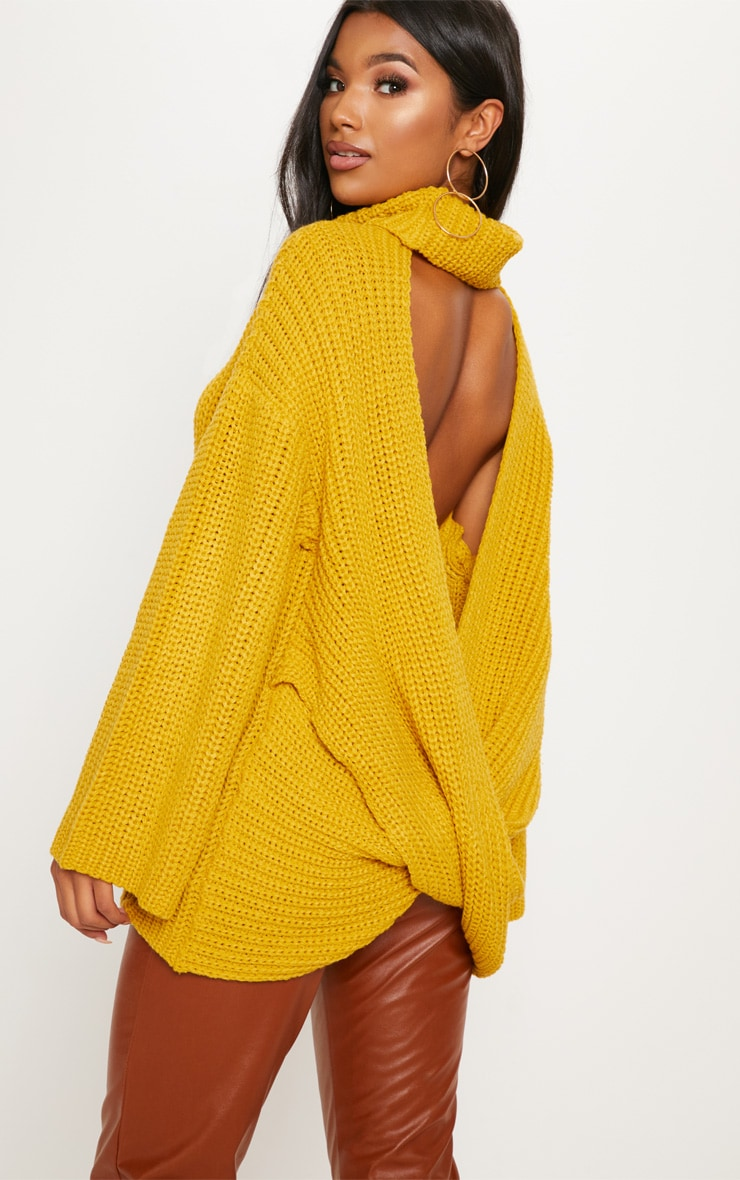 Mustard Chunky Open Knit Jumper  3