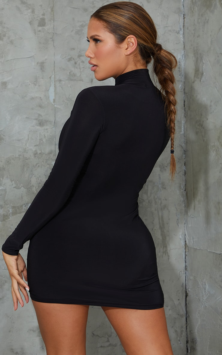 Shape Black Slinky Zip Front Collar Detail Bodycon Dress 2