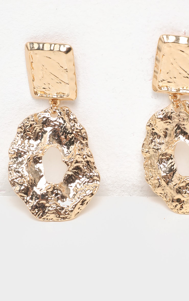 Gold Hammered Irregular Hoop Earring 3