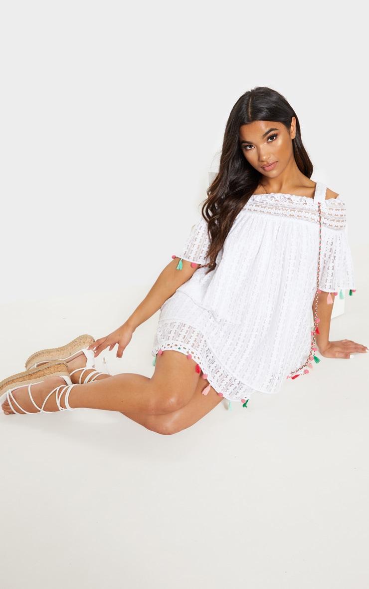 White Strappy Crochet Trim Pom Pom Smock Dress 4