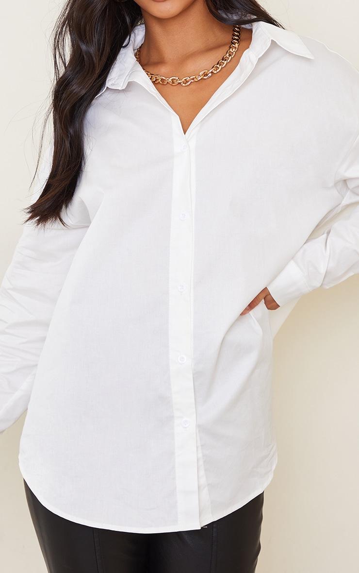 Petite White Oversized Poplin Shirt  4