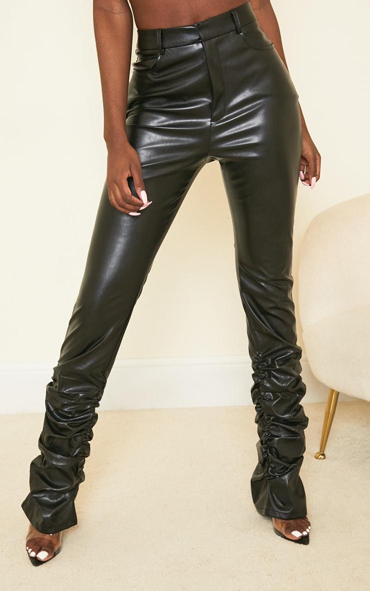 Tall Black Ruched Hem PU Pants 2