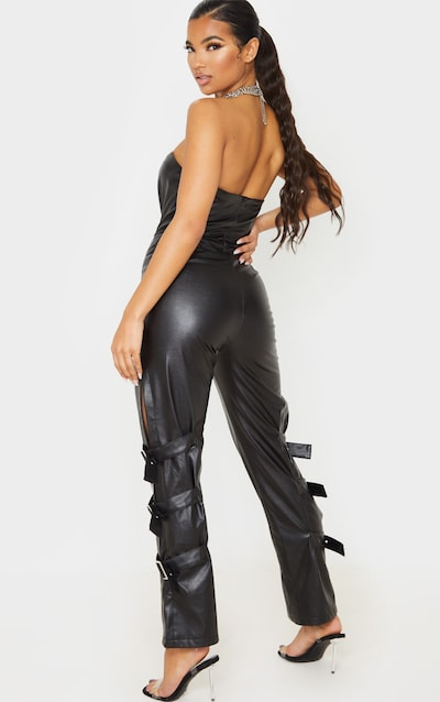 Black Faux Leather Buckle Strap Detail Jumpsuit