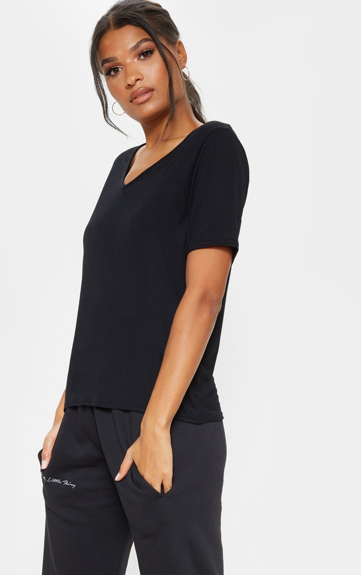 Basic Black V Neck T Shirt 1