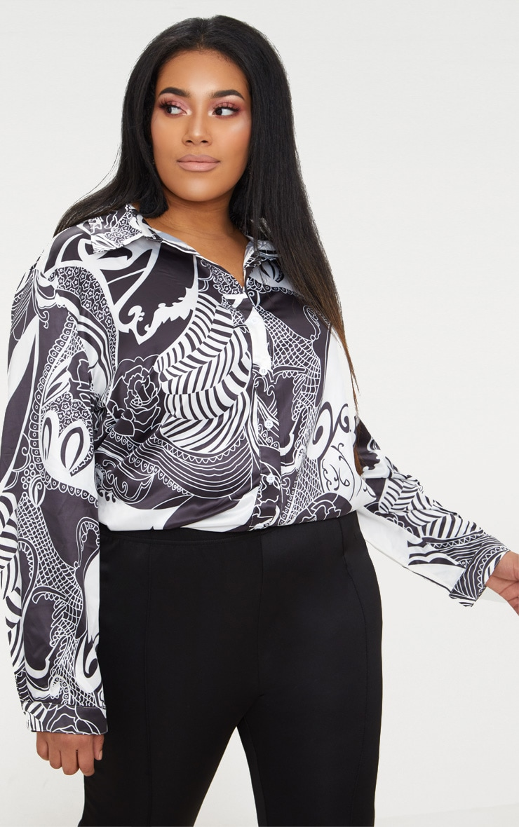 Plus White Monochrome Printed Satin Oversized Shirt 1