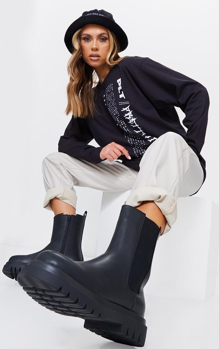 Black Wide Fit PU Calf High Vamp Chelsea Boots 2