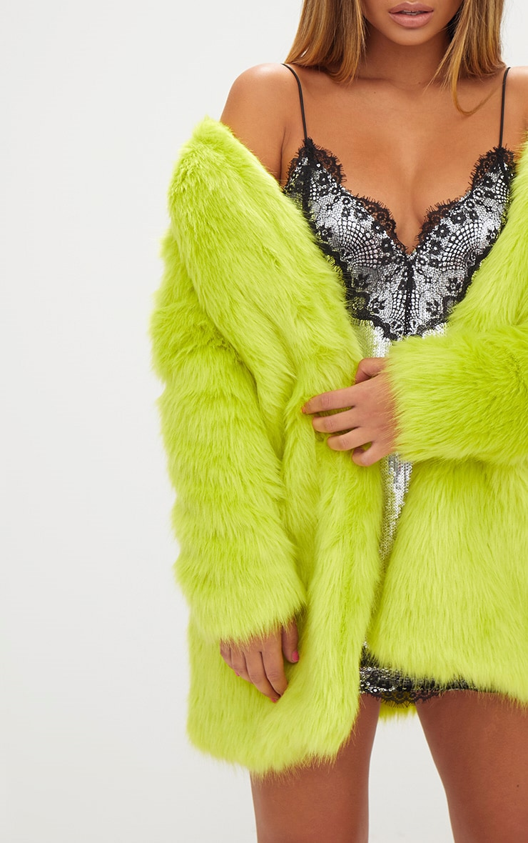 Lime Faux Fur Coat 5