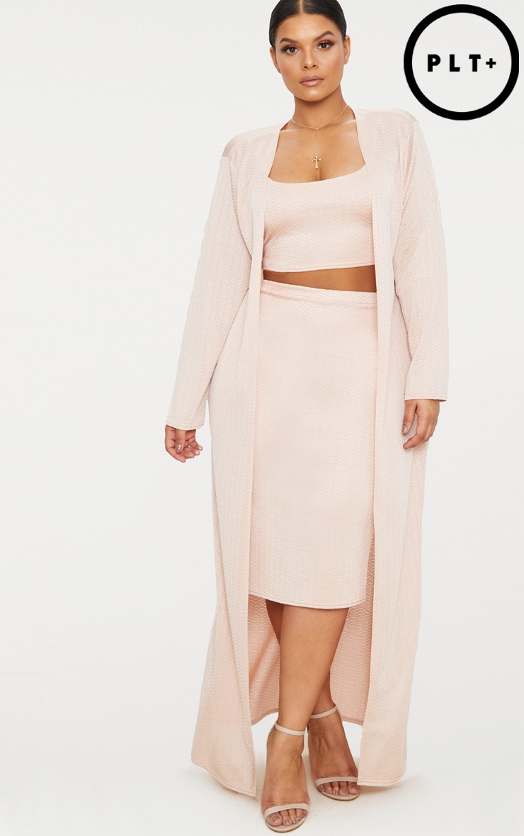 Plus Champagne Textured Duster Coat
