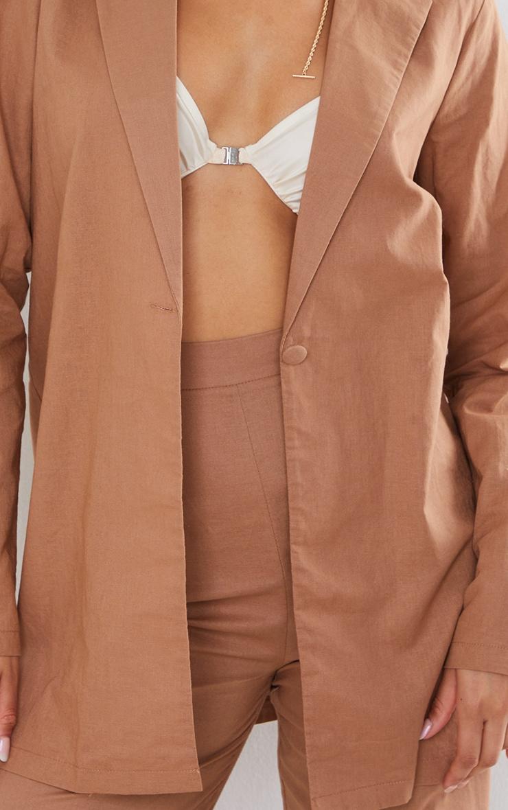 Mocha Linen Feel Oversized Blazer 4