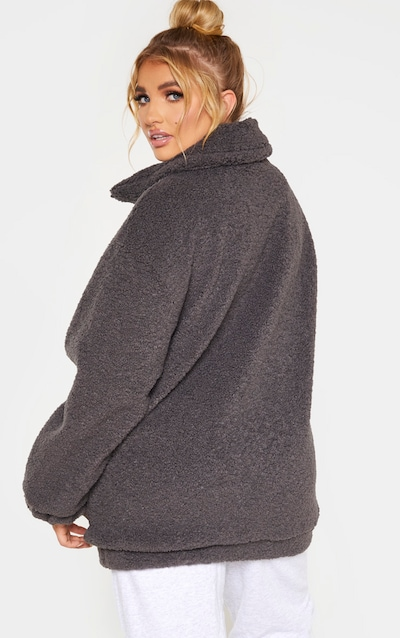 Plus Charcoal Teddy Bomber Coat