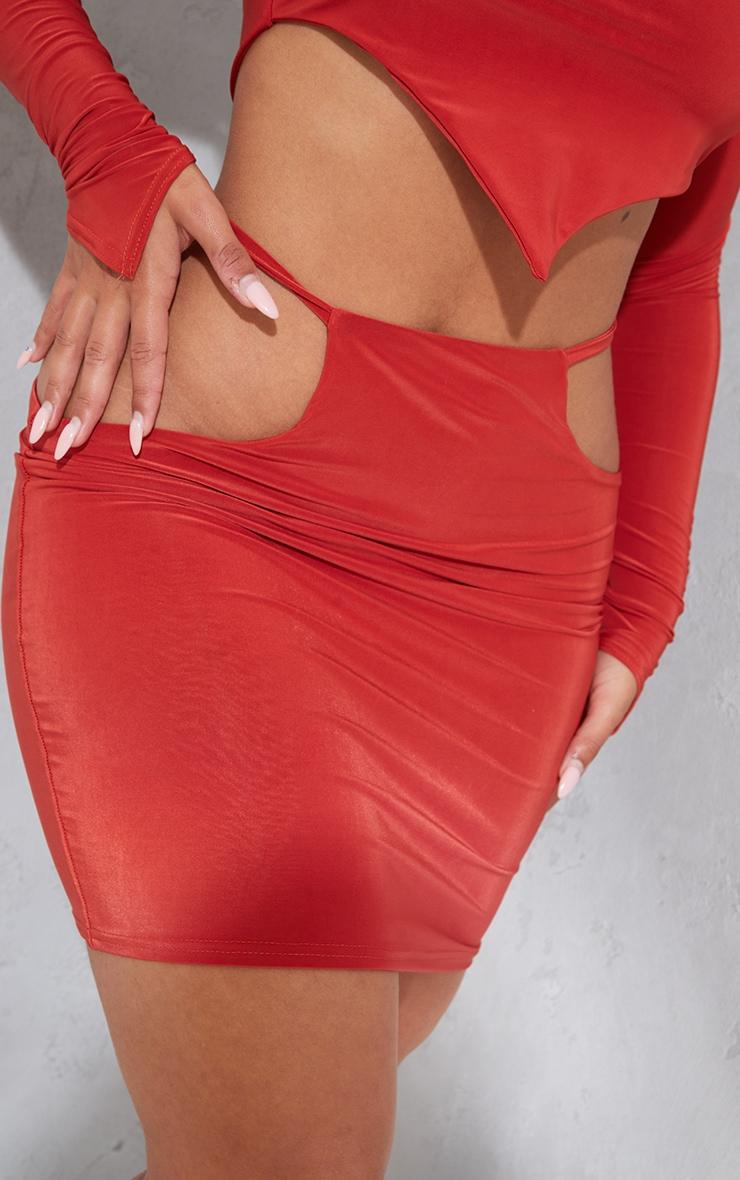 Shape Rust Slinky Cut Out Side Bodycon Skirt 5