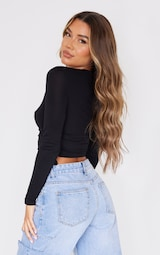 Black Jersey Ruched Side Long Sleeve Crop Top 2