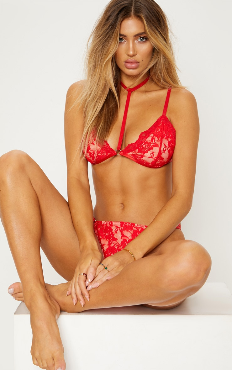 Red Lace Choker Harness Bikini Top 1